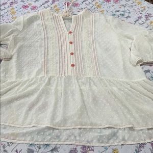 Matilda Jane dotted swiss creamy white ruffle top